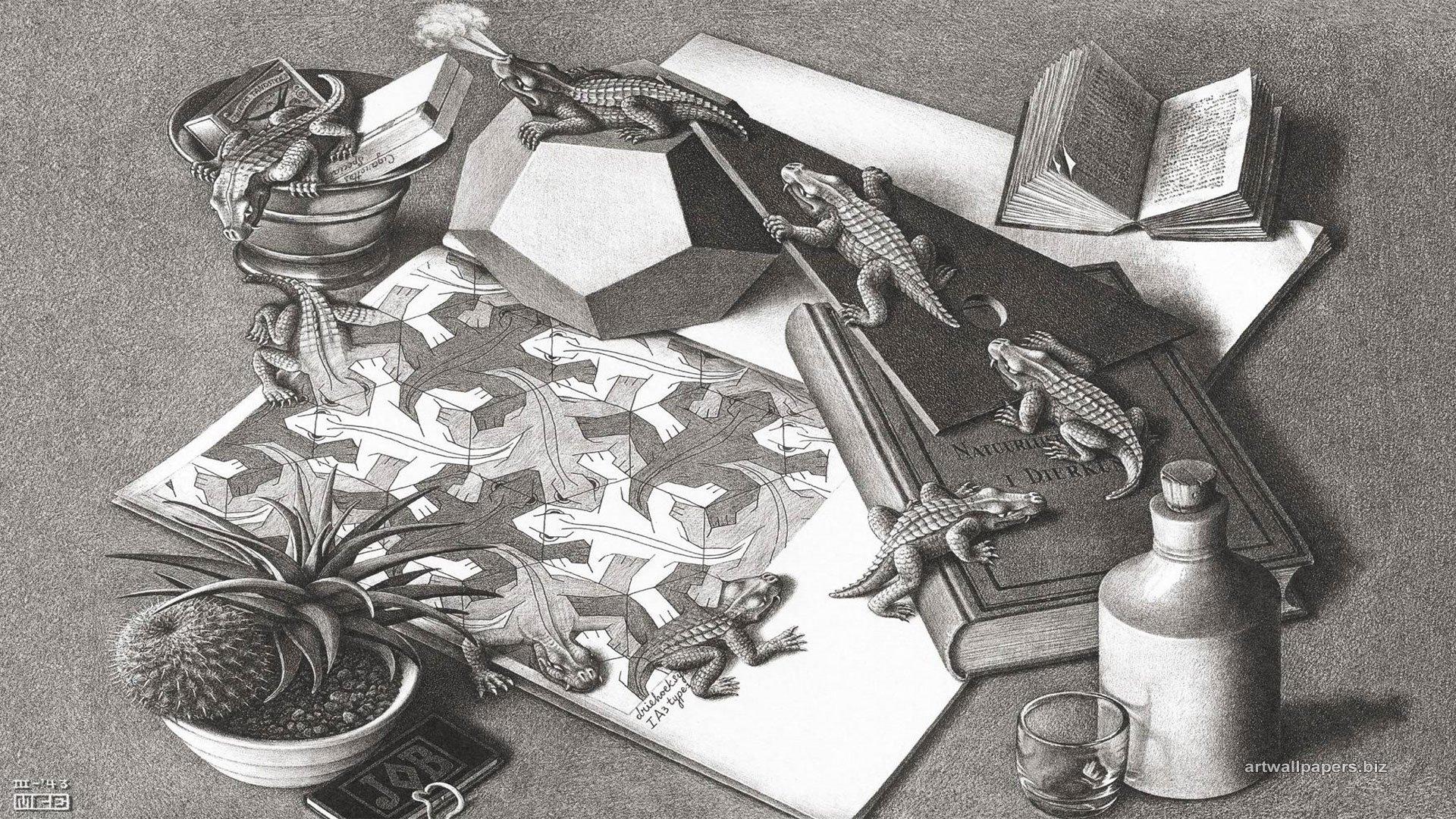 Mcエッシャー爬虫類 Mcエッシャー壁紙 1600x900 Wallpapertip