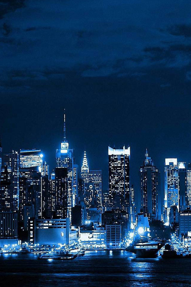 New York Skyline Iphone Wallpaper New York City Skyline Night New York Background Iphone 640x960 Download Hd Wallpaper Wallpapertip
