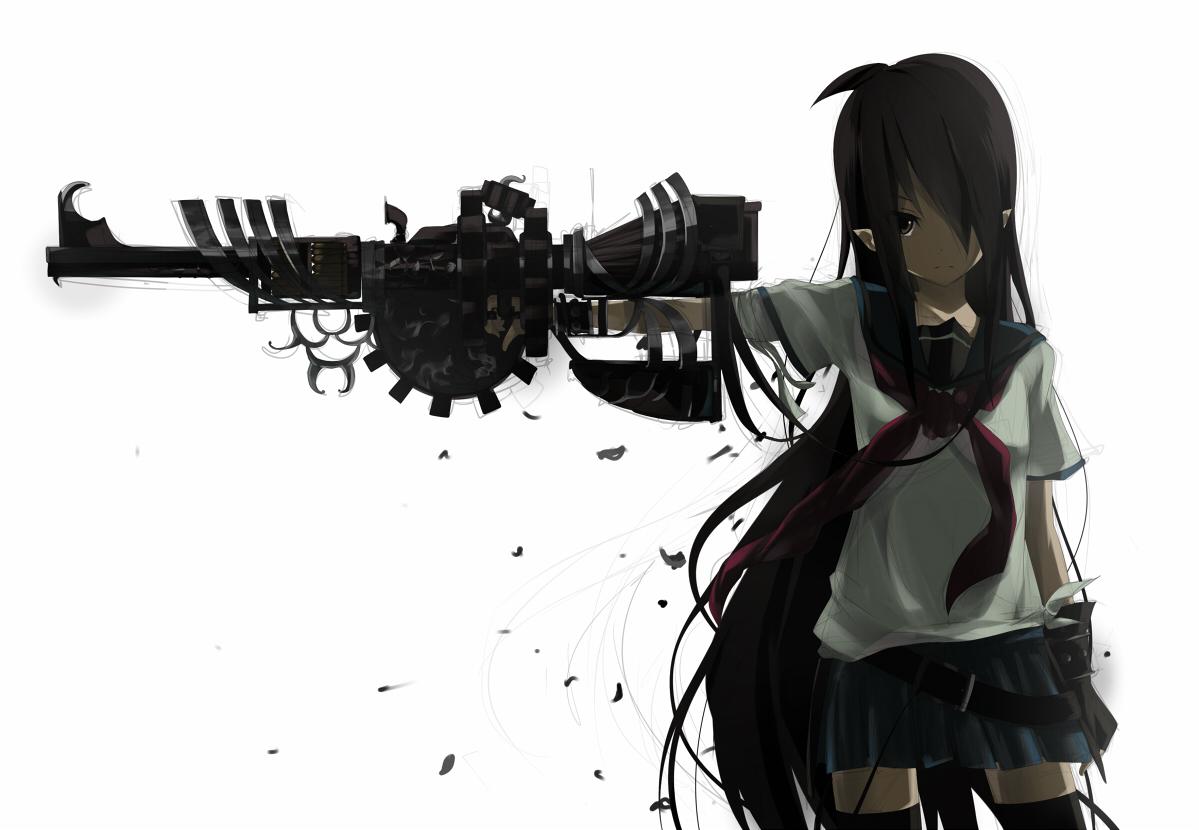Black Hair Anime Girl With Gun ...