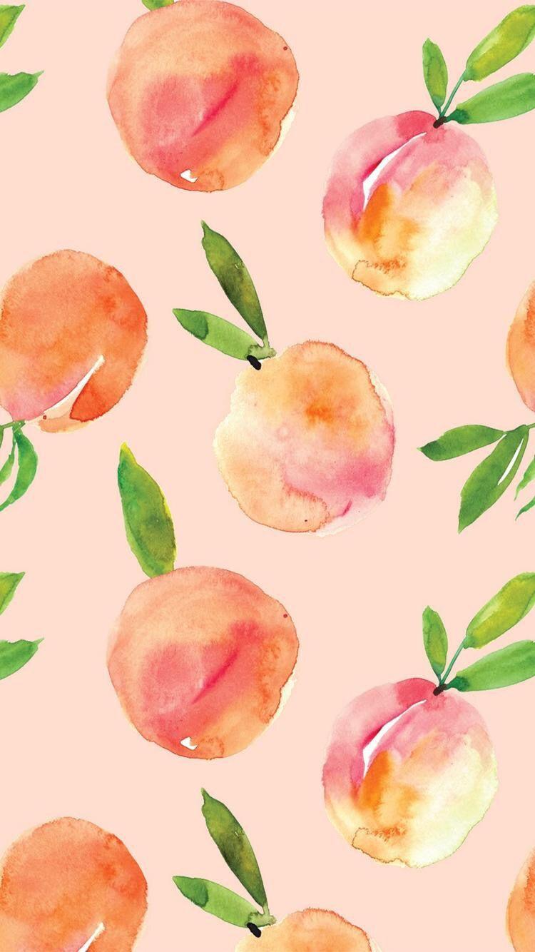 水彩桃果実背景 フルーツ壁紙iphone 750x1334 Wallpapertip