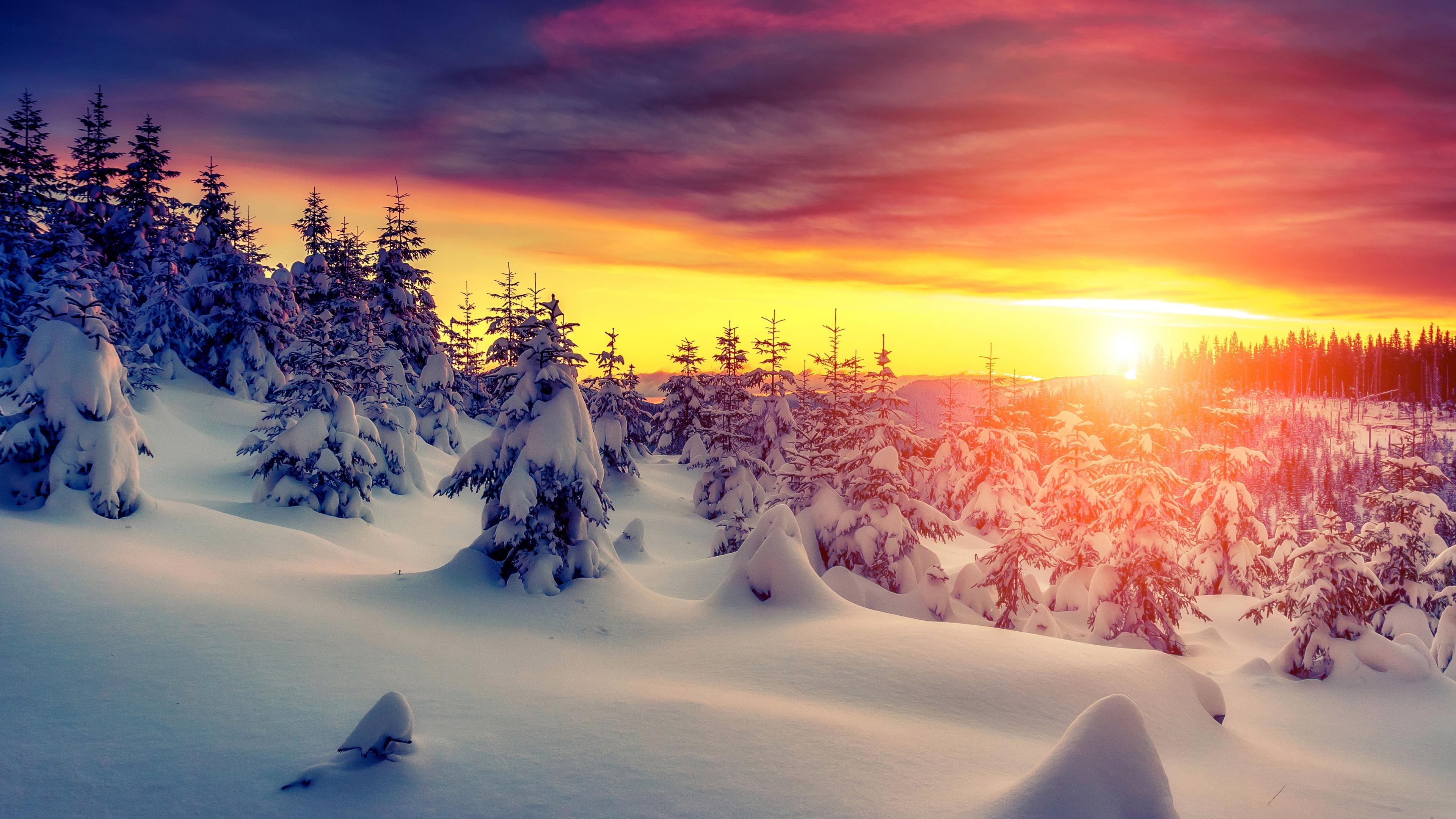 4k Winter Sunset 1280x720 Download Hd Wallpaper Wallpapertip