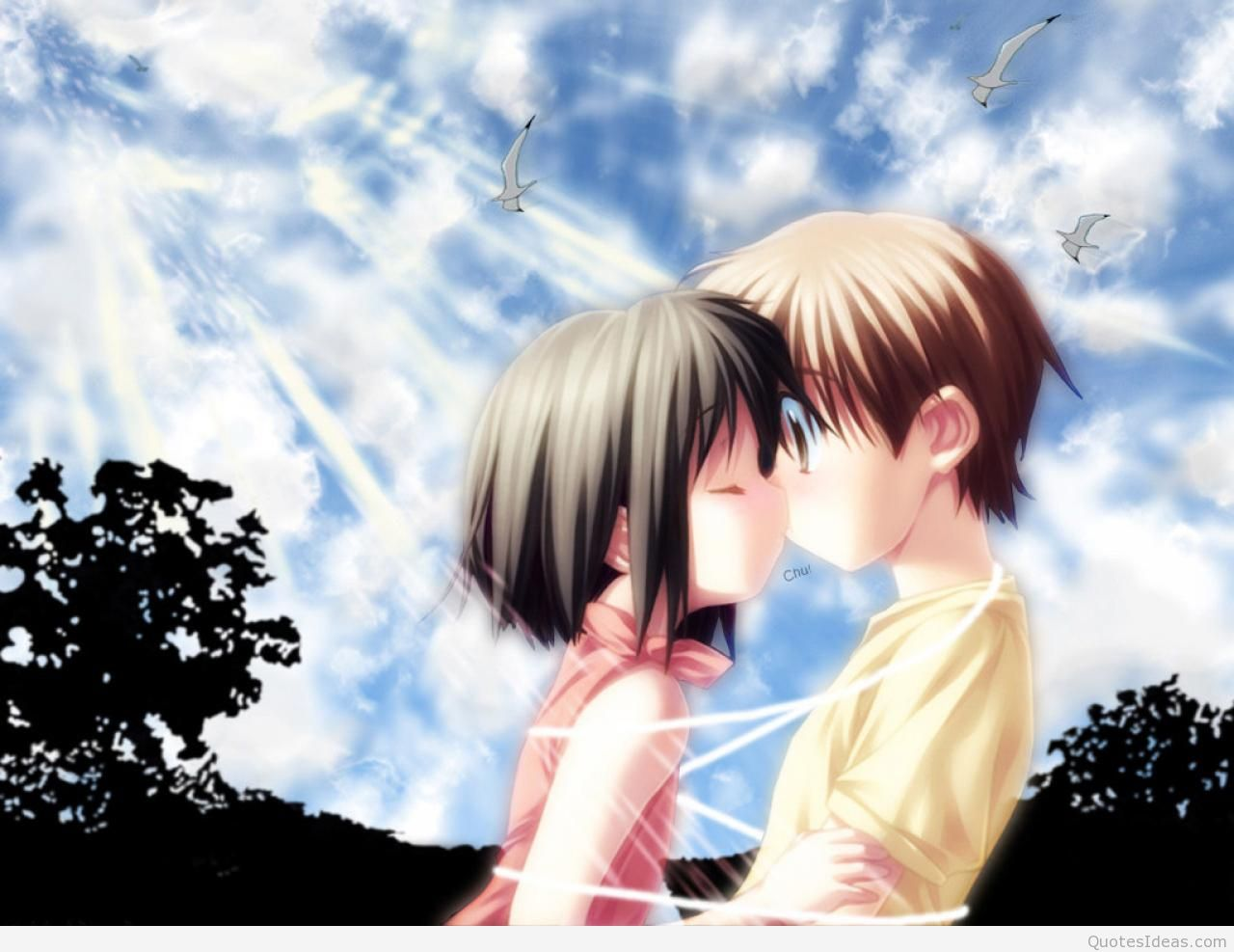 And Anime Couples Cute Love Wallpapers Hd Images Dark Cute Anime Kiss 1280x987 Download Hd Wallpaper Wallpapertip