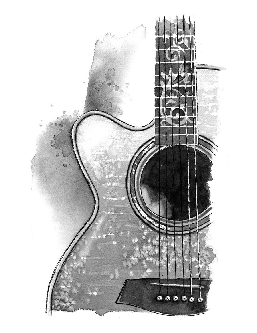 Black Guitar Wallpaper Acoustic Guitar Drawing Tattoo 900x1165 Download Hd Wallpaper Wallpapertip