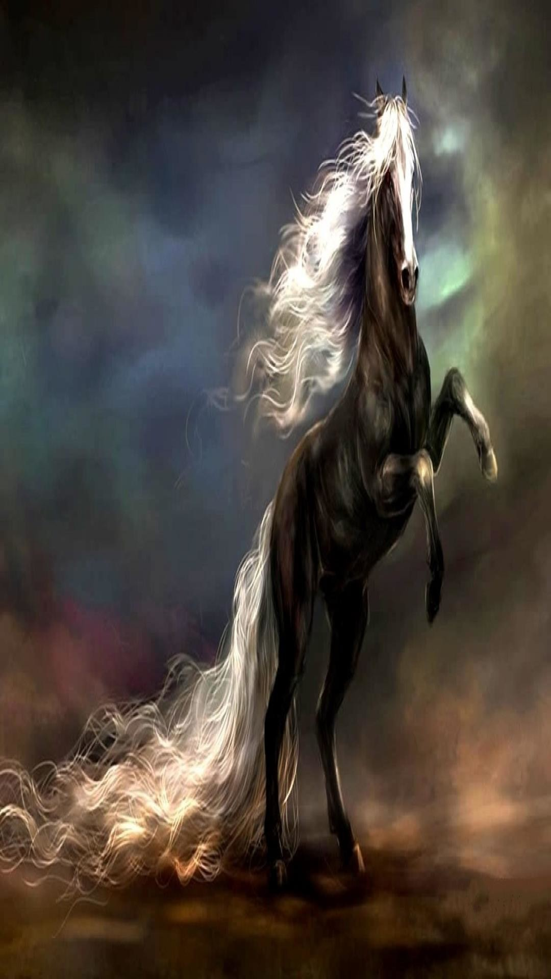Data Src Popular Dark Horse Wallpaper For Iphone 5 Black Horse White Mane Art 1080x1920 Download Hd Wallpaper Wallpapertip