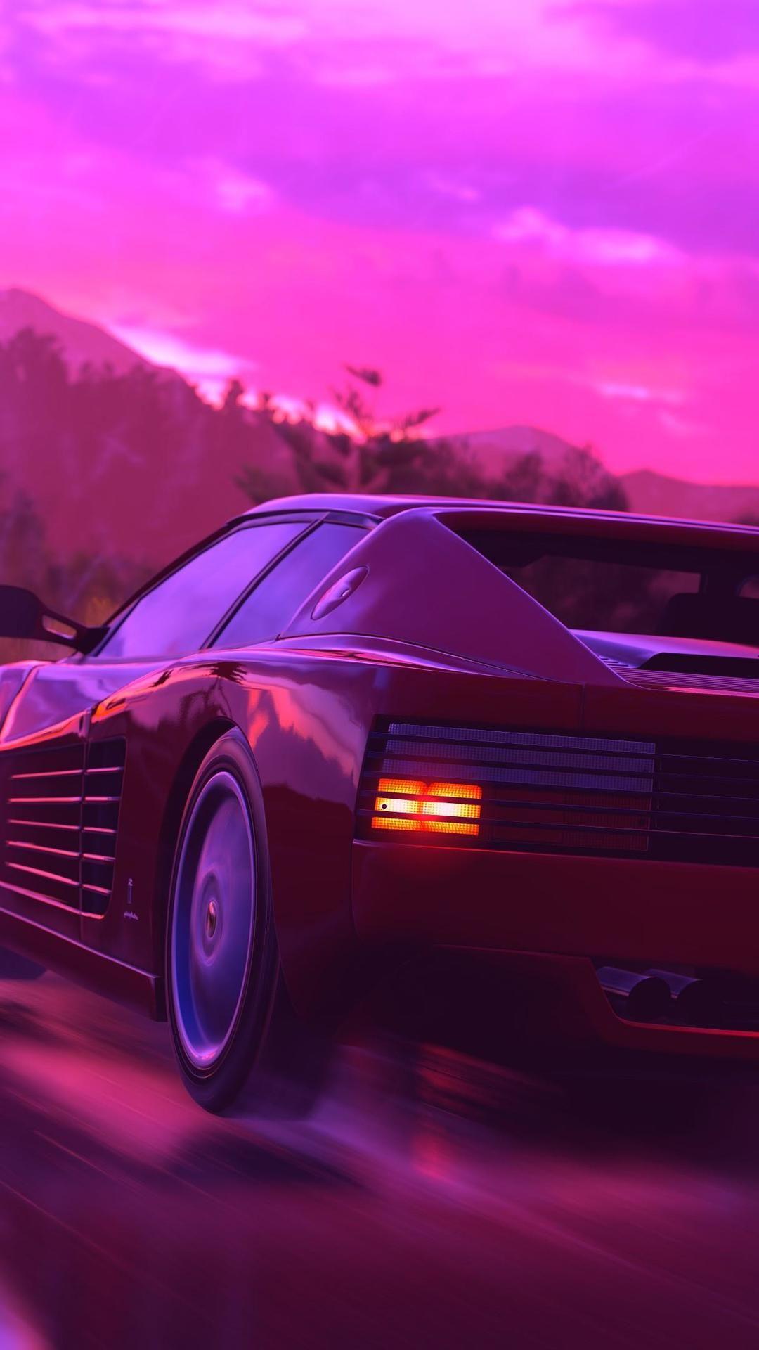 Ferrari Testarossa Retrowave Pink 4k Pc Wallpaper Retro 640x1138 Download Hd Wallpaper Wallpapertip