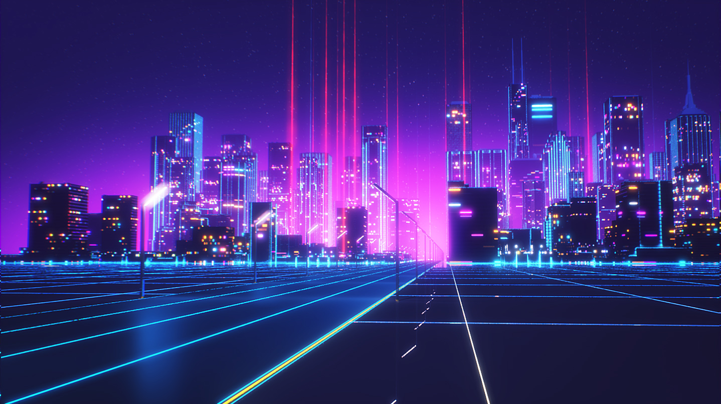 Vaporwave Wallpapers 7 Synthwave Background City 1438x806 Download Hd Wallpaper Wallpapertip
