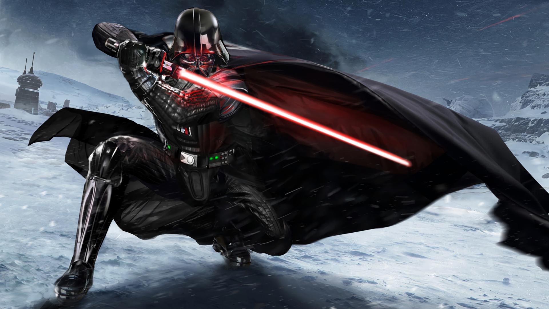 Darth Vader Lightsaber Star Wars Artwork Cape Hd Wallpaper Star Wars Darth Vader 1366x768 Download Hd Wallpaper Wallpapertip