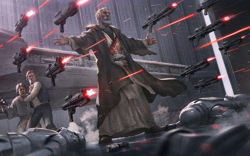 Wallpaper Star Wars Gun Fire Fan Art Fight Obi Wan Kenobi Art 800x500 Download Hd Wallpaper Wallpapertip