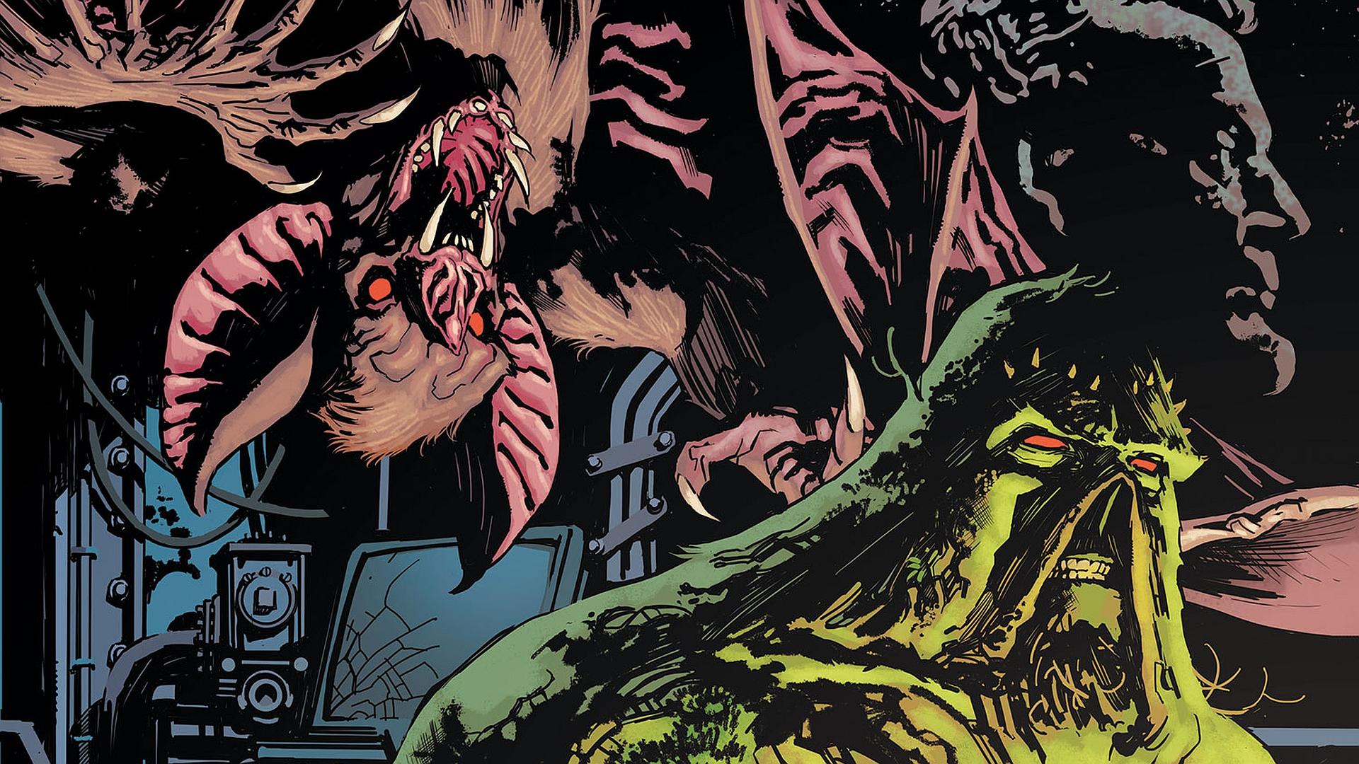 539391 Title Comics Swamp Thing Wallpaper Swamp Thing And Bat 1920x1080 Download Hd Wallpaper Wallpapertip