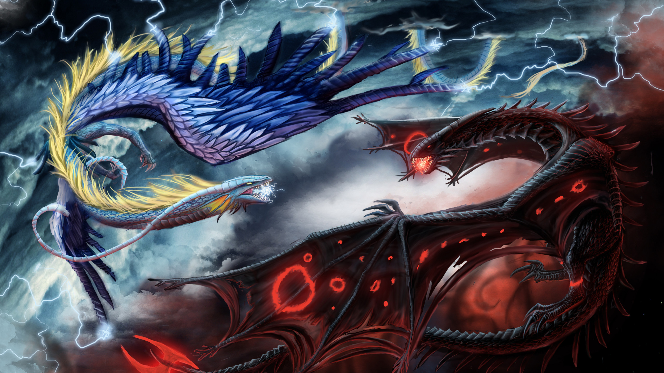Lightning Dragon Wallpapers Dragon Of Hell And Heaven 2560x1440 Download Hd Wallpaper Wallpapertip