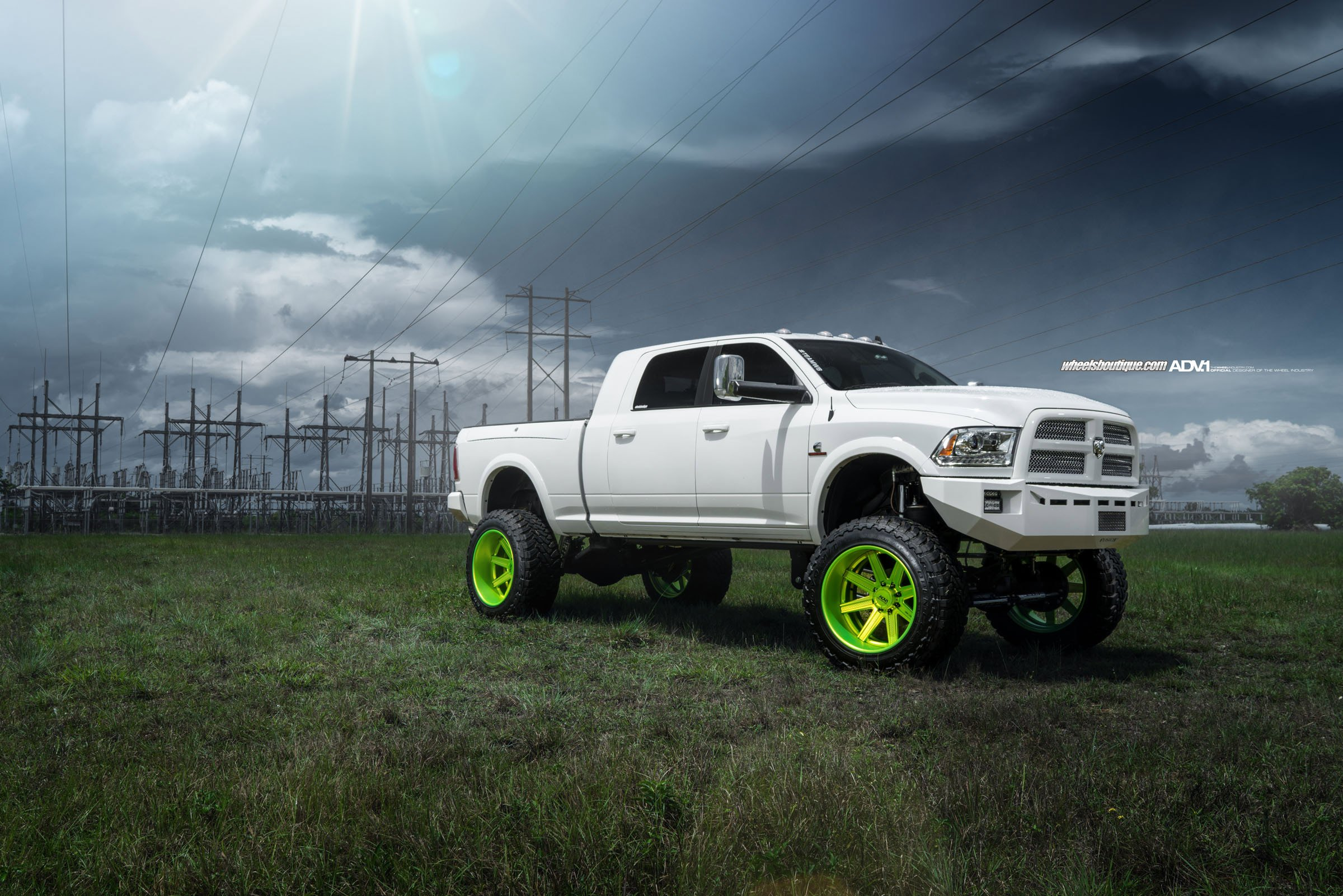 Adv 1 Wheels Gallery Dodge Ram 2500 Hd Truck Pickup White Truck Colored Wheels 1049x700 Download Hd Wallpaper Wallpapertip