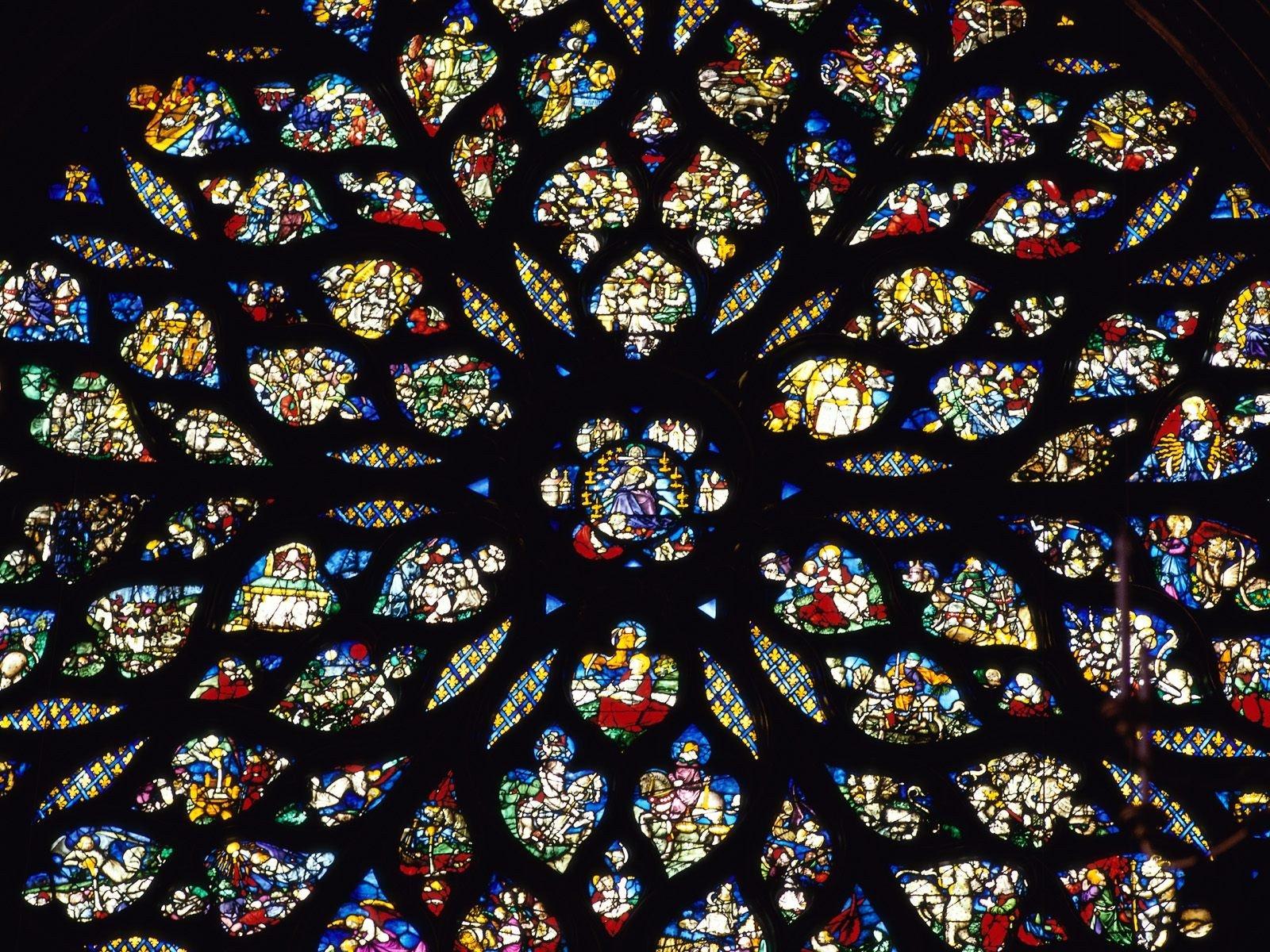 バラ窓サントシャペルステンドグラス ステンドグラスの壁紙 1600x10 Wallpapertip