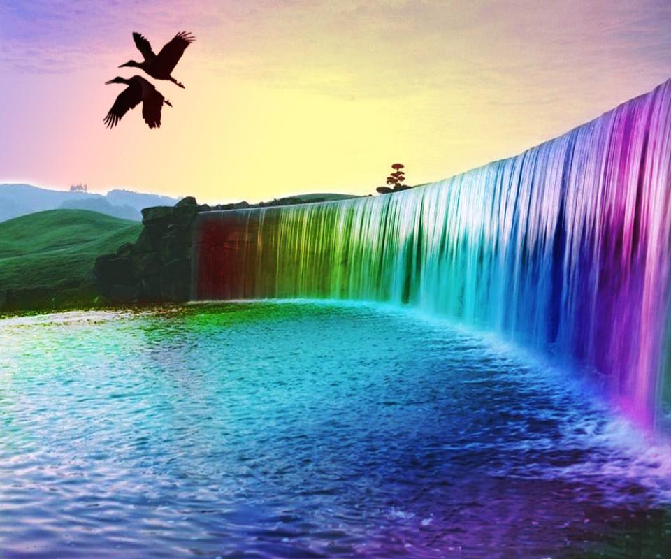 Mobile Wallpaper Download Wallpaper Samsung Galaxy Rainbow Waterfalls 960x800 Download Hd Wallpaper Wallpapertip