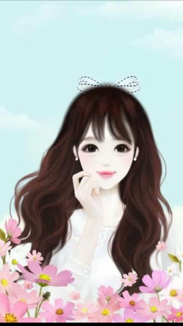 Cute Cartoonish Wallpaper Fit Foe Your Phone Wallpapers Cute Korean Anime Girl 750x1334 Download Hd Wallpaper Wallpapertip
