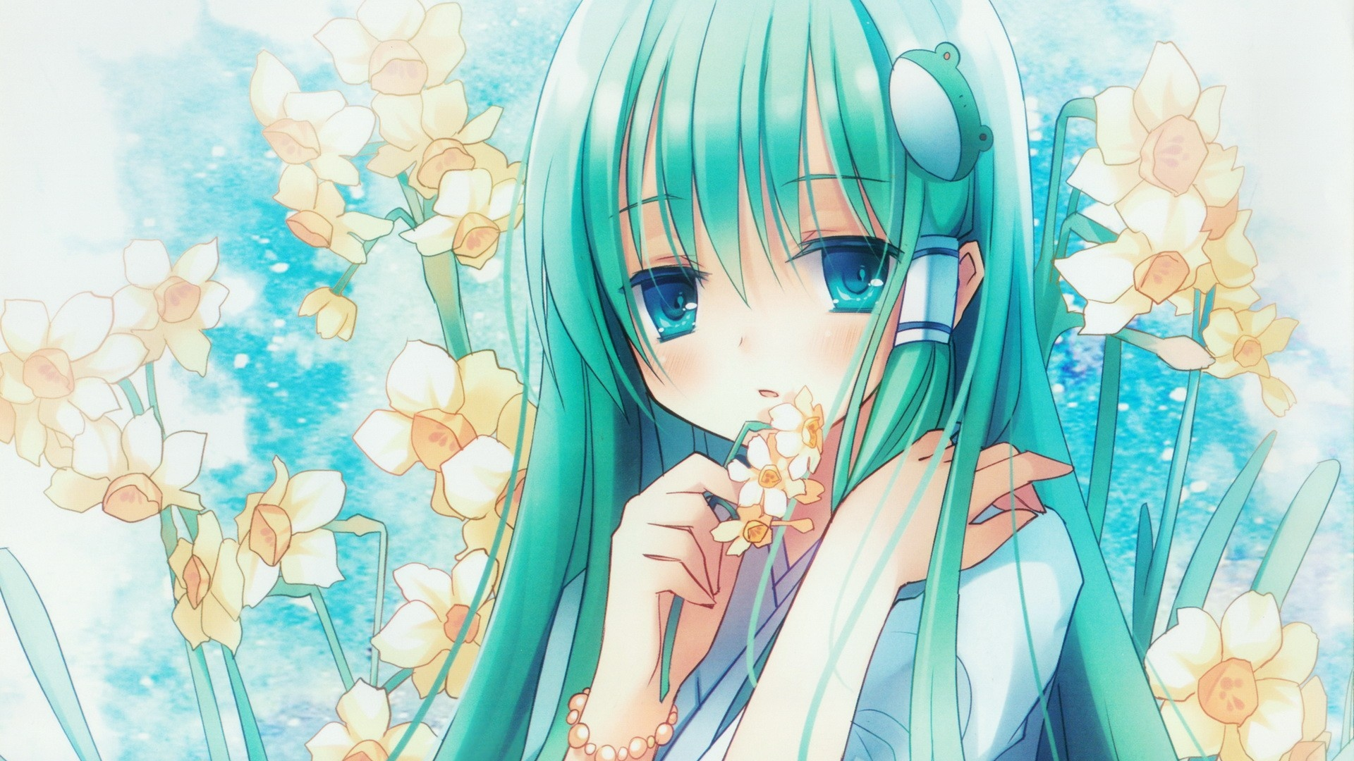Anime Girl Turquoise Hair - 10x10 - Download HD Wallpaper