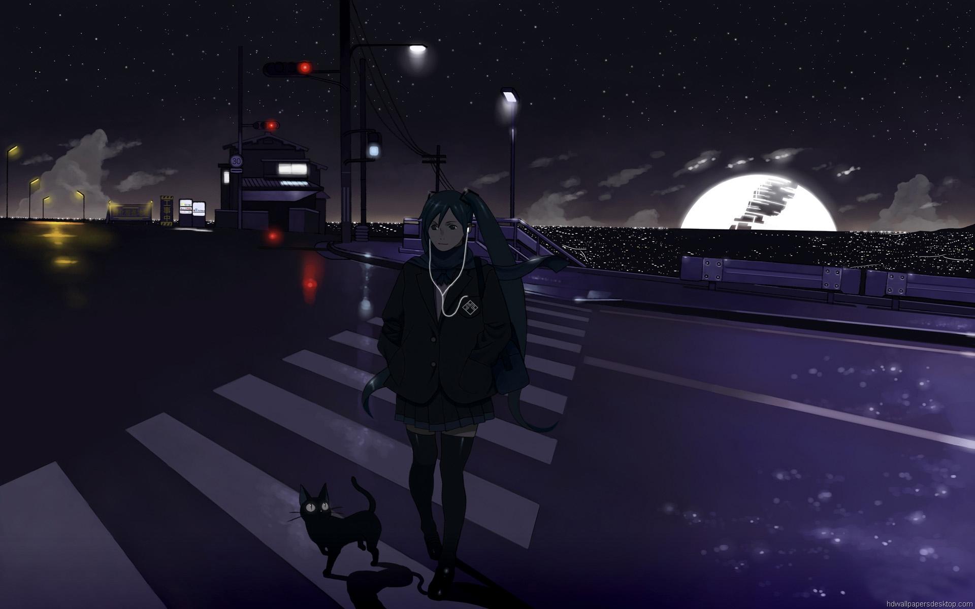 ボーカロイド壁紙夜 アニメ壁紙hdワイドスクリーン 19x10 Wallpapertip