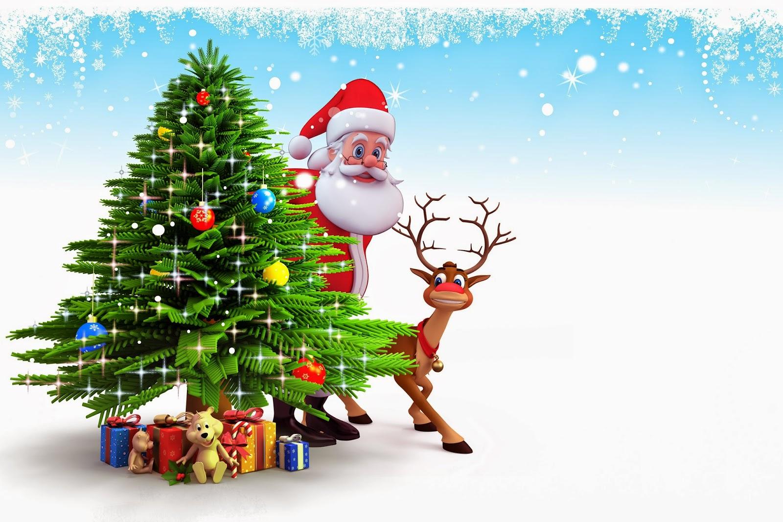 47 472873 christmas 3d animation santa hidden behind tree wallpaper