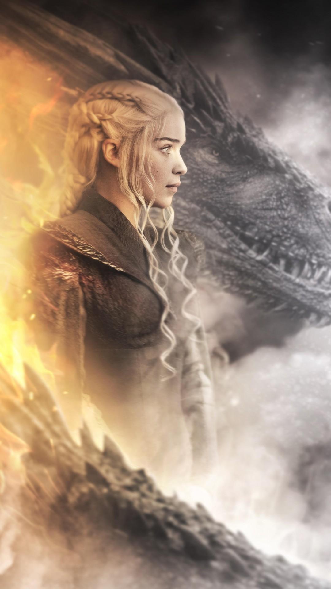 Game Of Thrones Daenerys Dragon Poster 1080x1920 Download Hd Wallpaper Wallpapertip