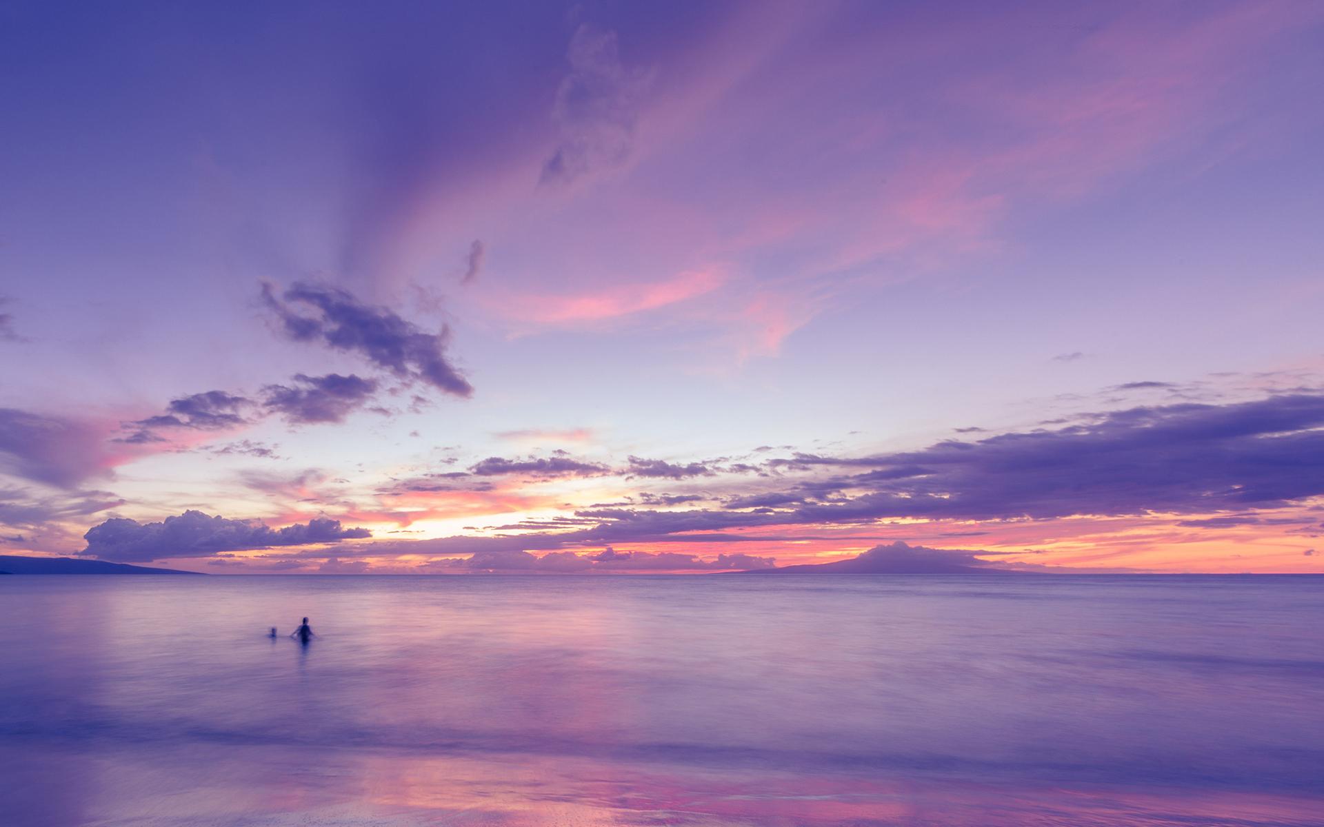 Ocean Clouds Sunset Purple Beach Wallpaper Light Purple Sunset Background 1120x700 Download Hd Wallpaper Wallpapertip