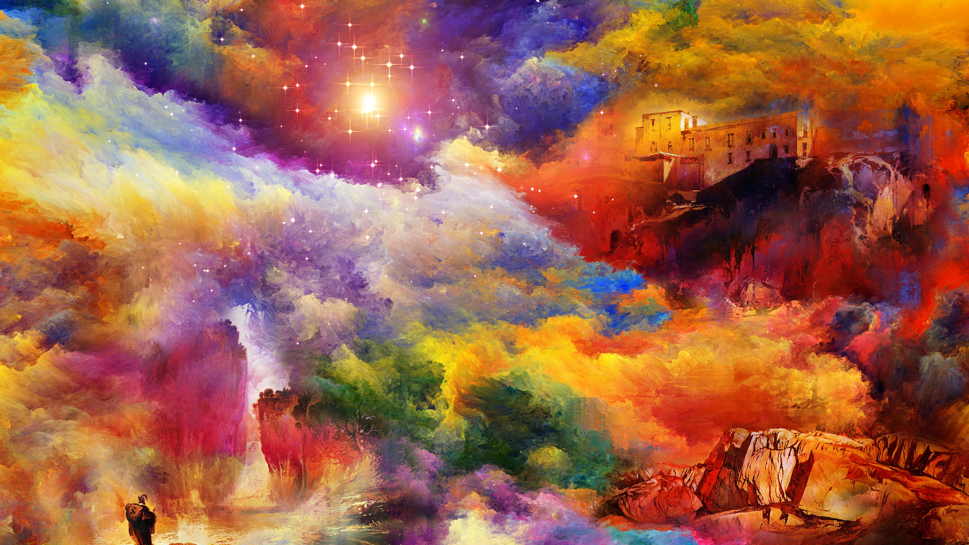 726990 Title Fantasy Landscape Artistic Fantasy Colors 4k Paintings 3840x2160 Download Hd Wallpaper Wallpapertip