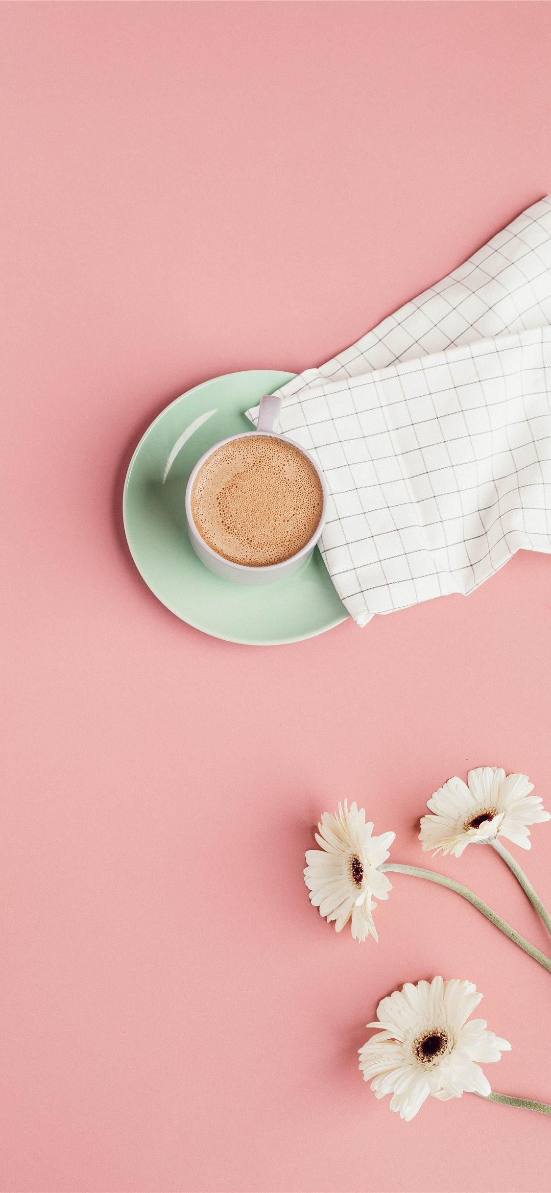 花とコーヒーピンクの壁紙hd コーヒーの壁紙 1125x2436 Wallpapertip