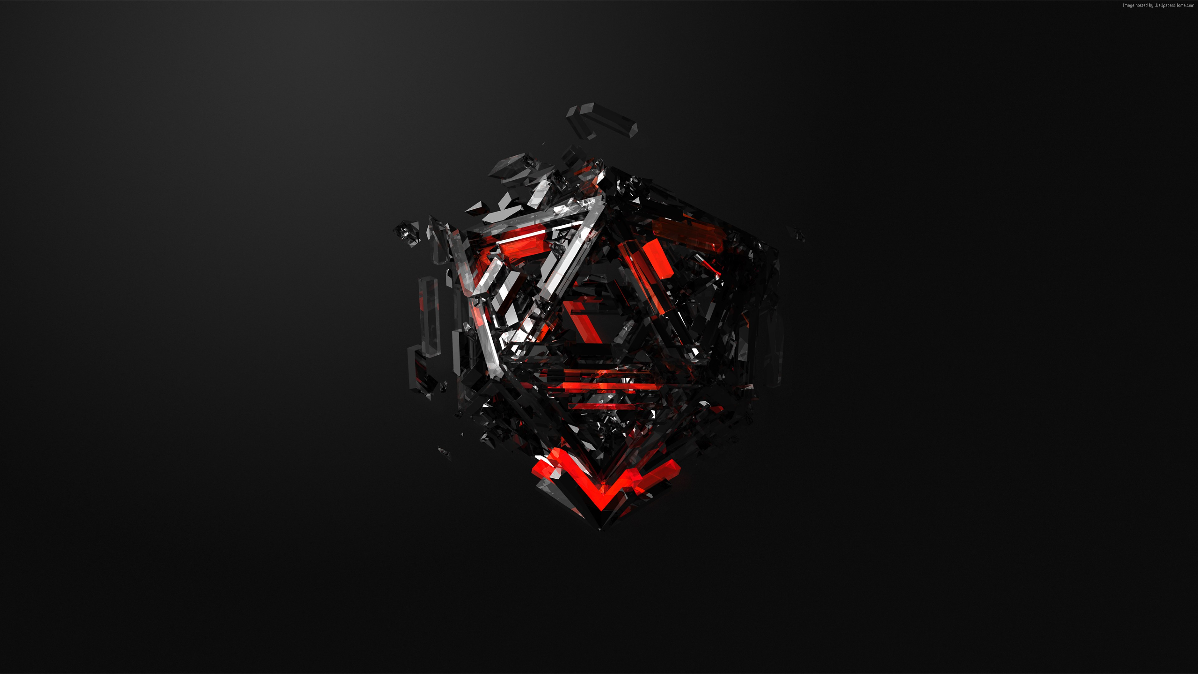 Wallpaper Triangles 3d Red Black Hd Abstract Red And Black Hd 3840x2160 Download Hd Wallpaper Wallpapertip