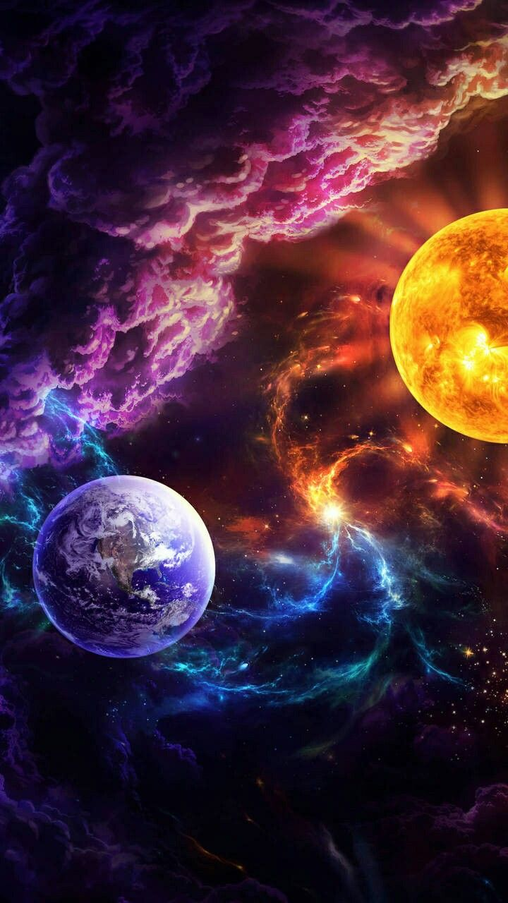 Wallpaper Galaxy Black Earth Colorful Sun Awesome Planet 720x1280 Download Hd Wallpaper Wallpapertip