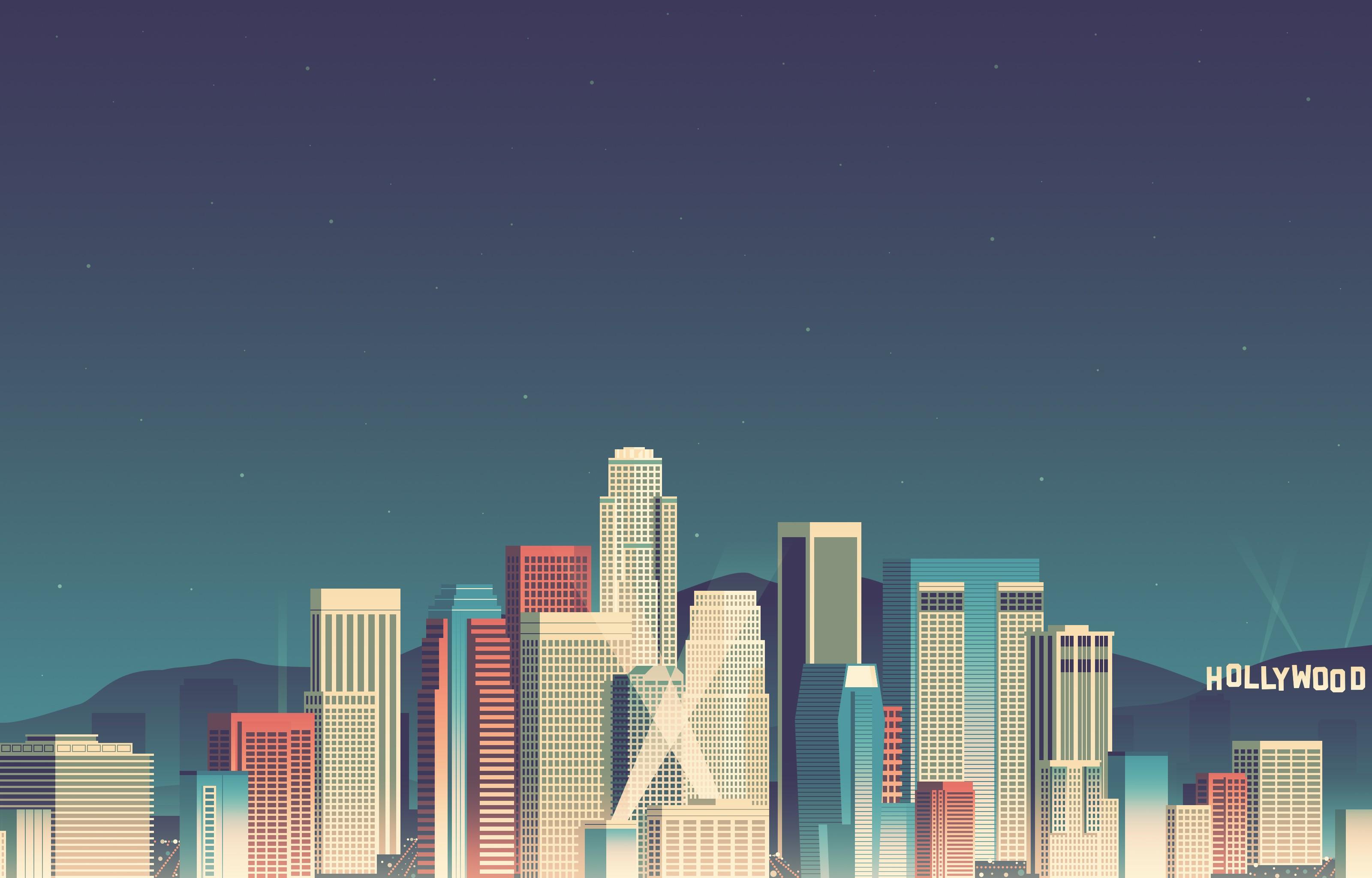 ロサンゼルスピクセルアート ビット壁紙 30x48 Wallpapertip