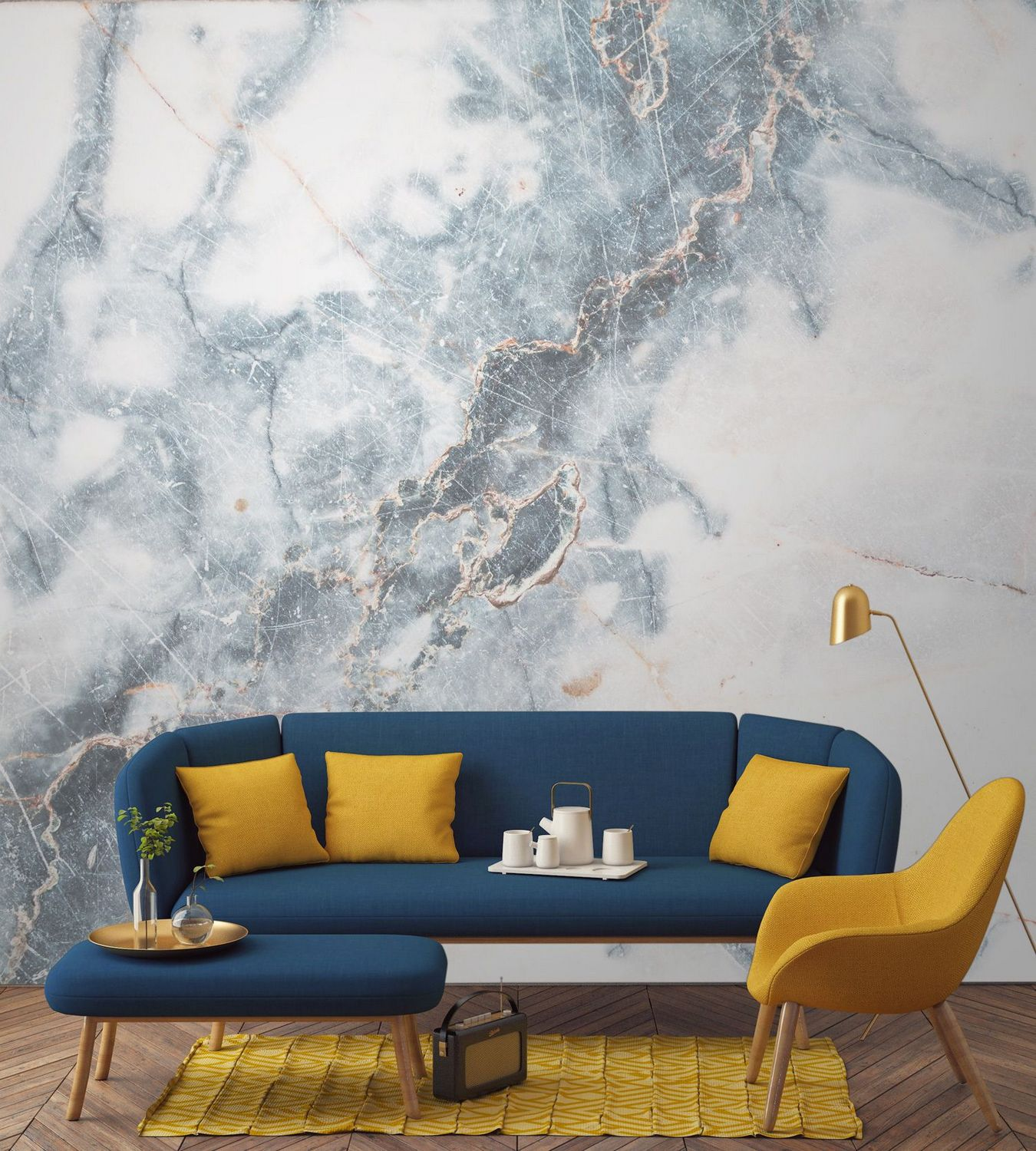 Marble Style Wallpaper Blue And Mustard Yellow Living Room 600x670 Download Hd Wallpaper Wallpapertip