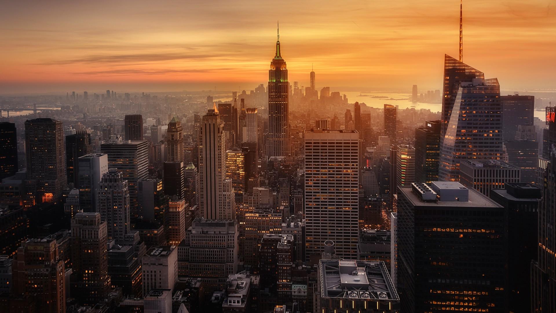 New York City Evening Time Laptop Full Hd 1080p Hd New York City 1920x1080 Download Hd Wallpaper Wallpapertip