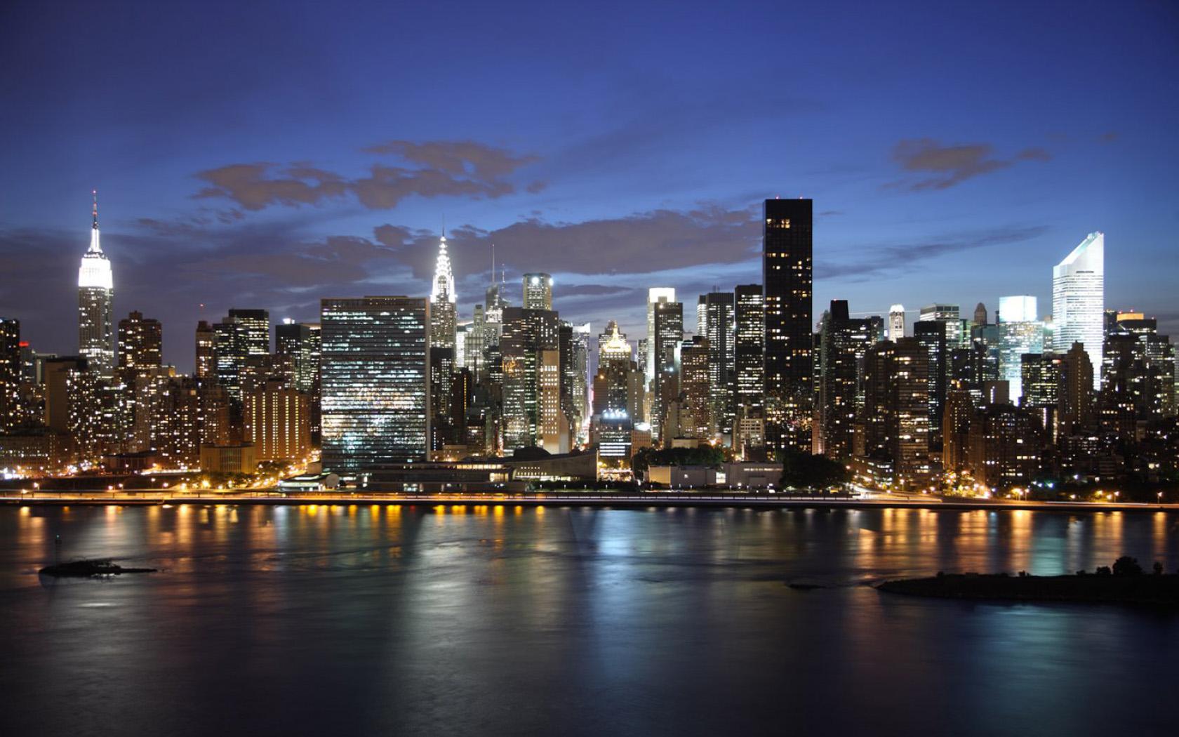 New York Skyline Night Wallpaper Pixel City Hd Wallpaper New York City Skyline Background 1680x1050 Download Hd Wallpaper Wallpapertip