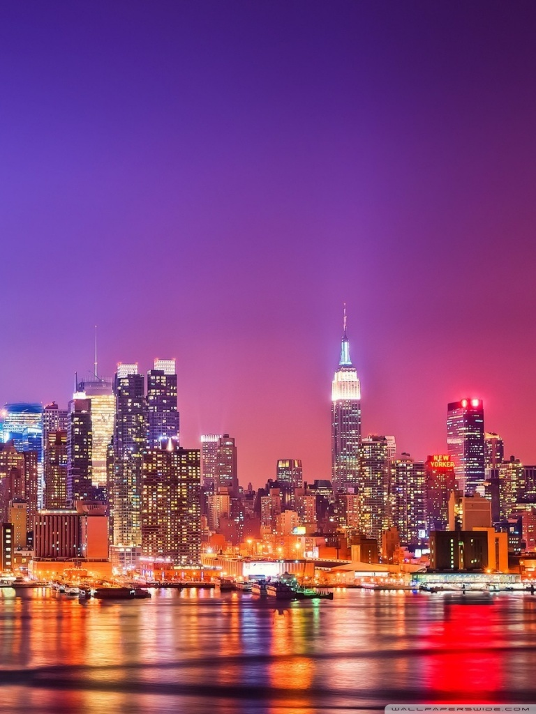 Hd City Skyline Wallpapers New York City Skyline At Night 768x1024 Download Hd Wallpaper Wallpapertip