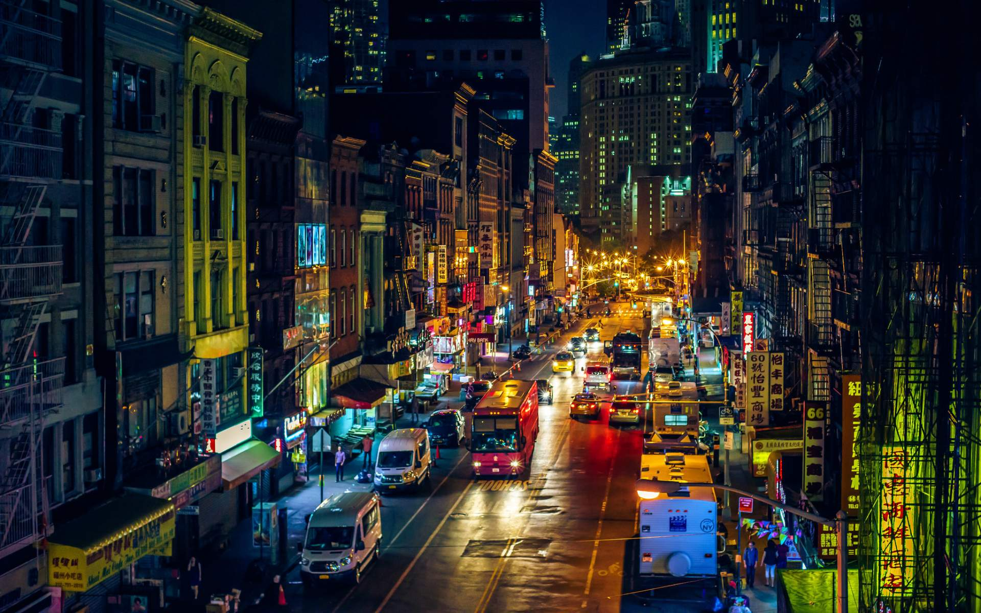 New York Street At Night Wallpaper New York Street City 1920x1200 Download Hd Wallpaper Wallpapertip