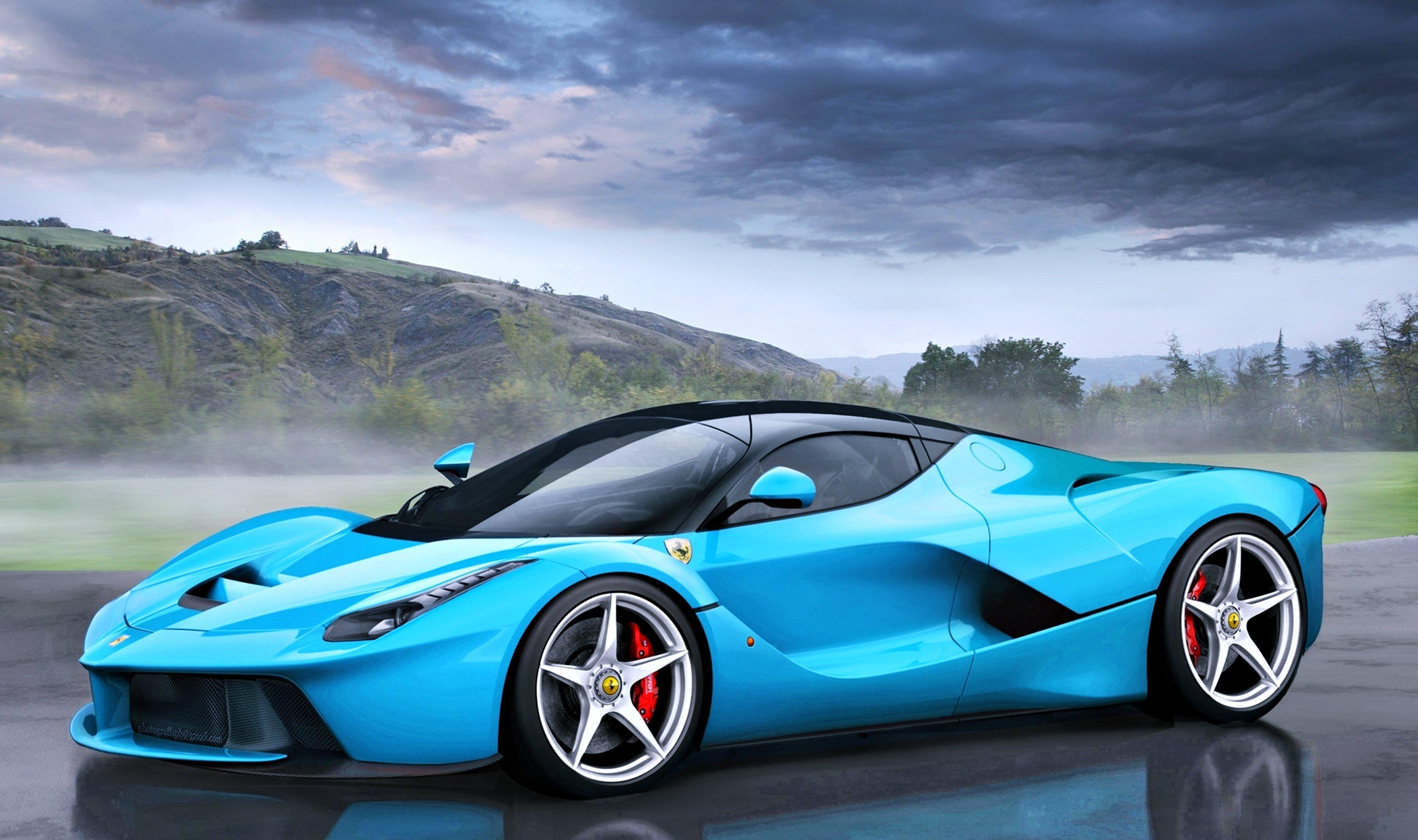 Ferrari Laferrari Tiffany Blue Fog Speed Cars Motors Ferrari Blue Race Car 3840x2276 Download Hd Wallpaper Wallpapertip