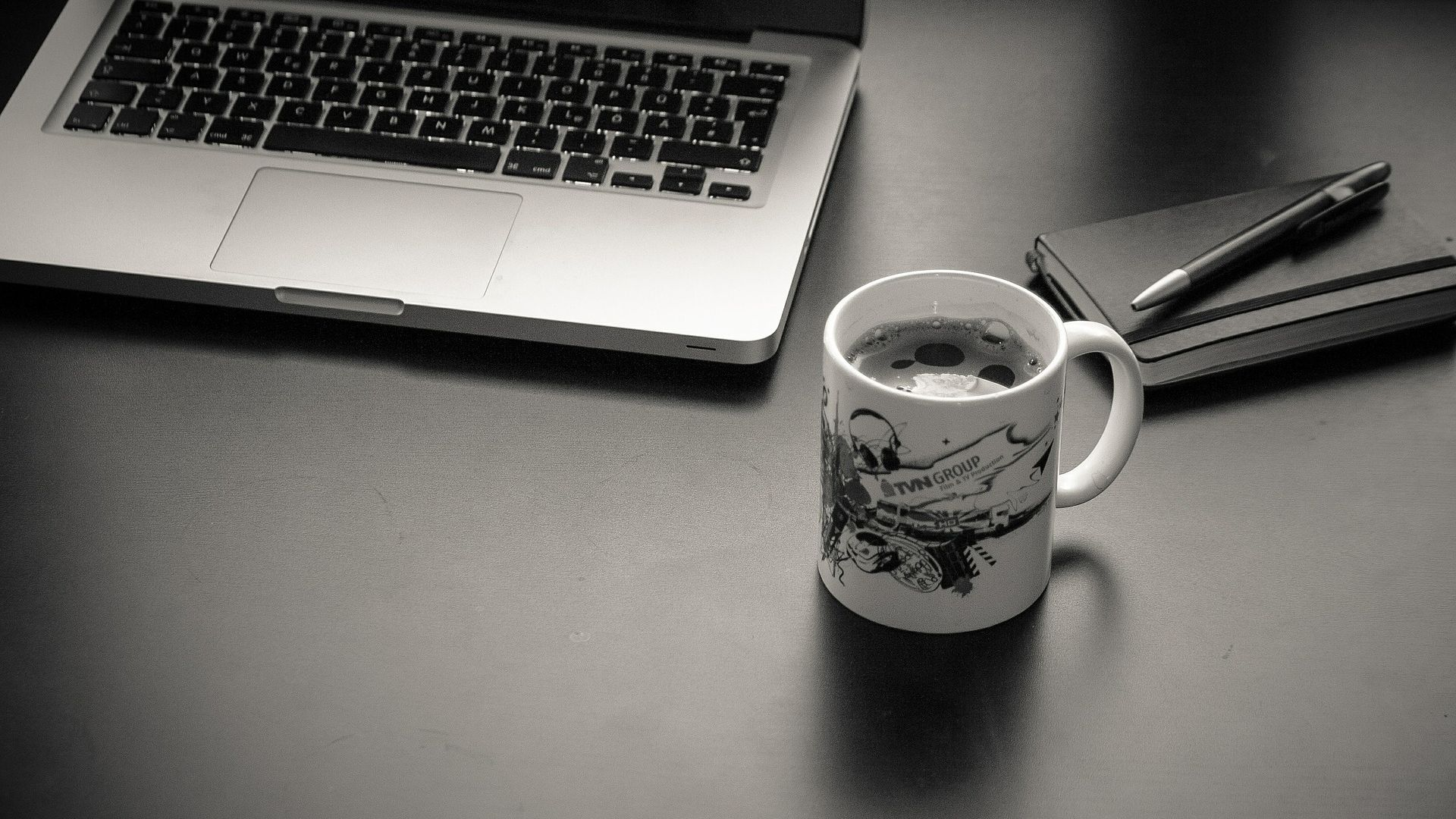 Computer Workplace Black And White Hd Wallpaper Coffee And Laptop Hd 1920x1080 Download Hd Wallpaper Wallpapertip