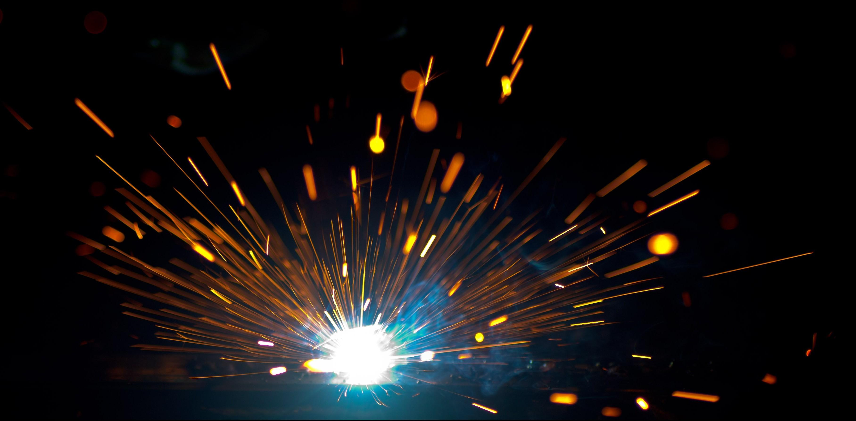 Fireworks and flying sparks