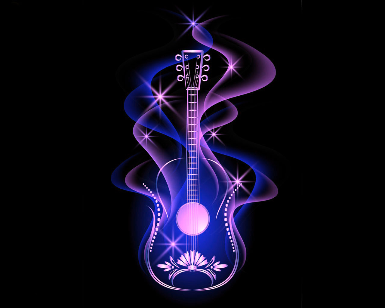 Cool Puple Glowing Guitar Wallpapers Hd Guitar With Cool Background 1280x1024 Download Hd Wallpaper Wallpapertip