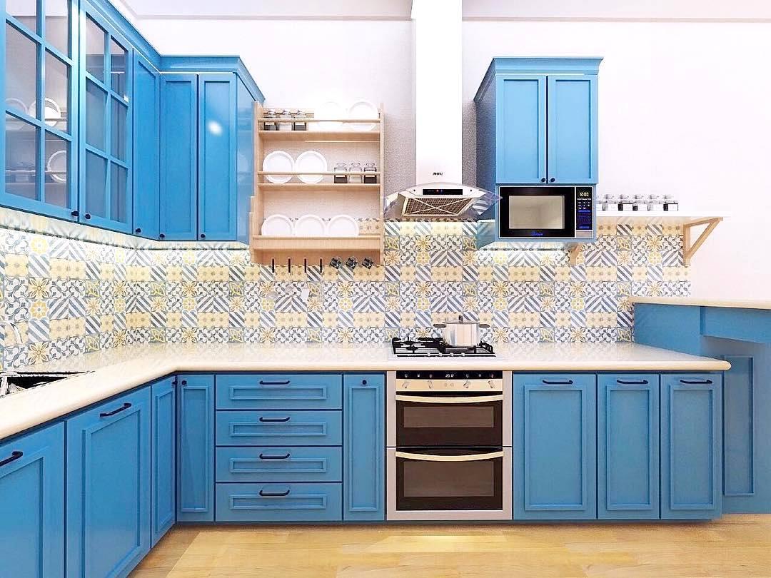 27 Desain Dapur Minimalis Modern Terbaru 2018 Dekor Keramik Meja Dapur Warna Biru 1080x810 Download Hd Wallpaper Wallpapertip