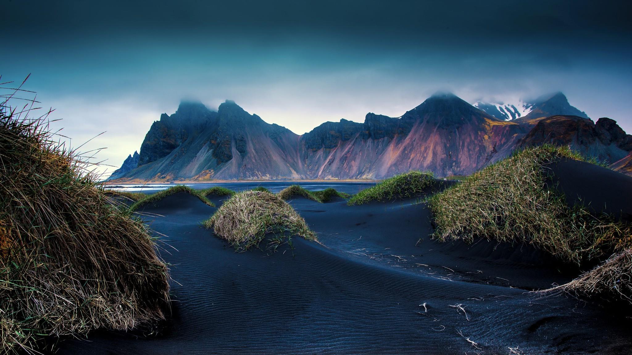 Islande Dunes De Sable Noir Fond D Ecran Nature Noire 2048x1152 Wallpapertip