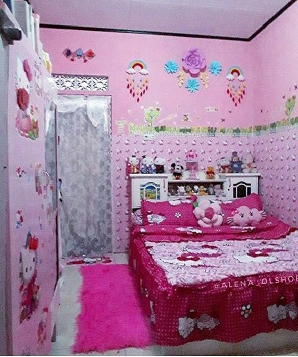 Desain Kamar Tidur Hello Kitty Terbaru - Desain Kamar Tidur Hello Kitty -  584x700 - Download HD Wallpaper - WallpaperTip