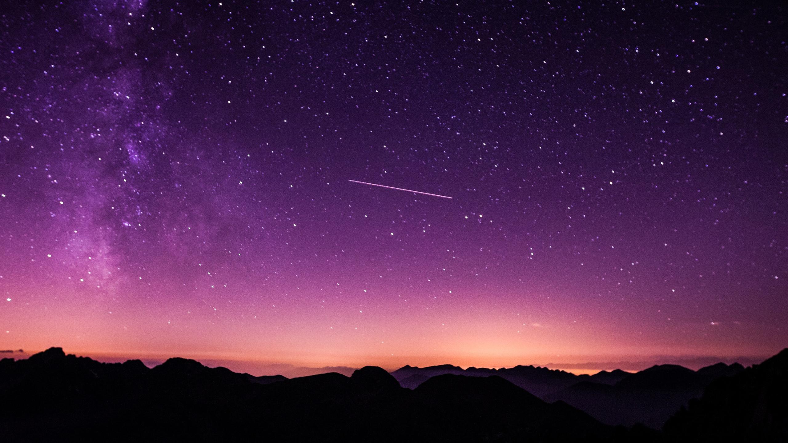 夜空の壁紙紫 星空の壁紙のhd 2560x1440 Wallpapertip
