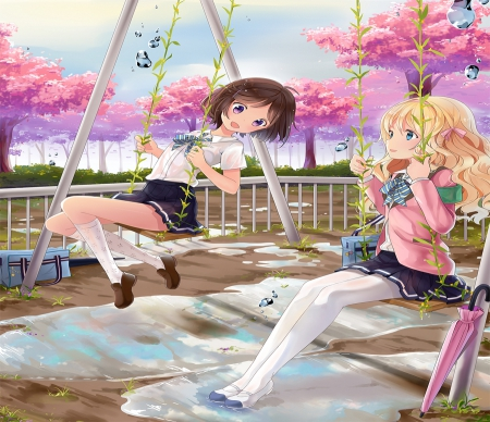 Anime Girl Meilleur Ami Anime Amis De L Ecole Fond D Ecran 450x388 Wallpapertip