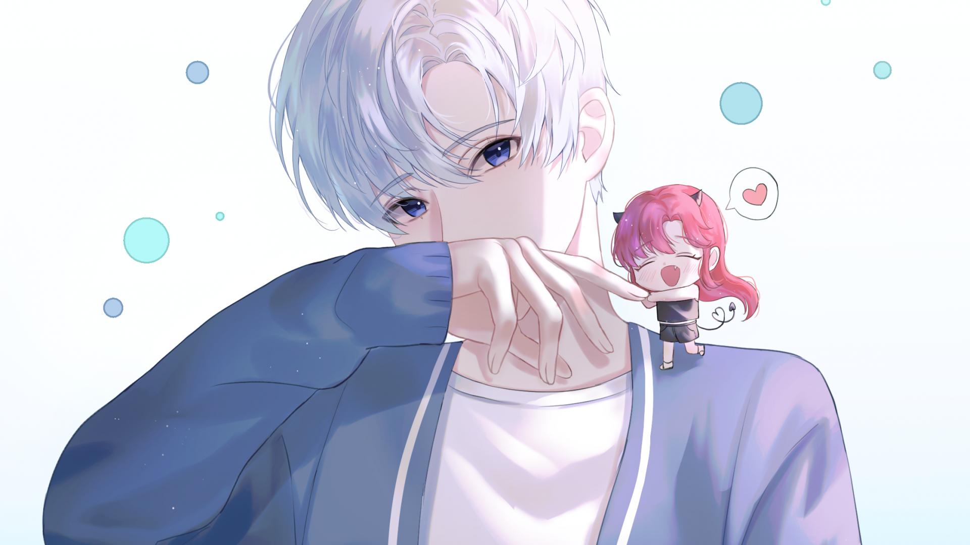Anime Boy And Girl, Chibi, Cute Friendship - Cute Anime Boy