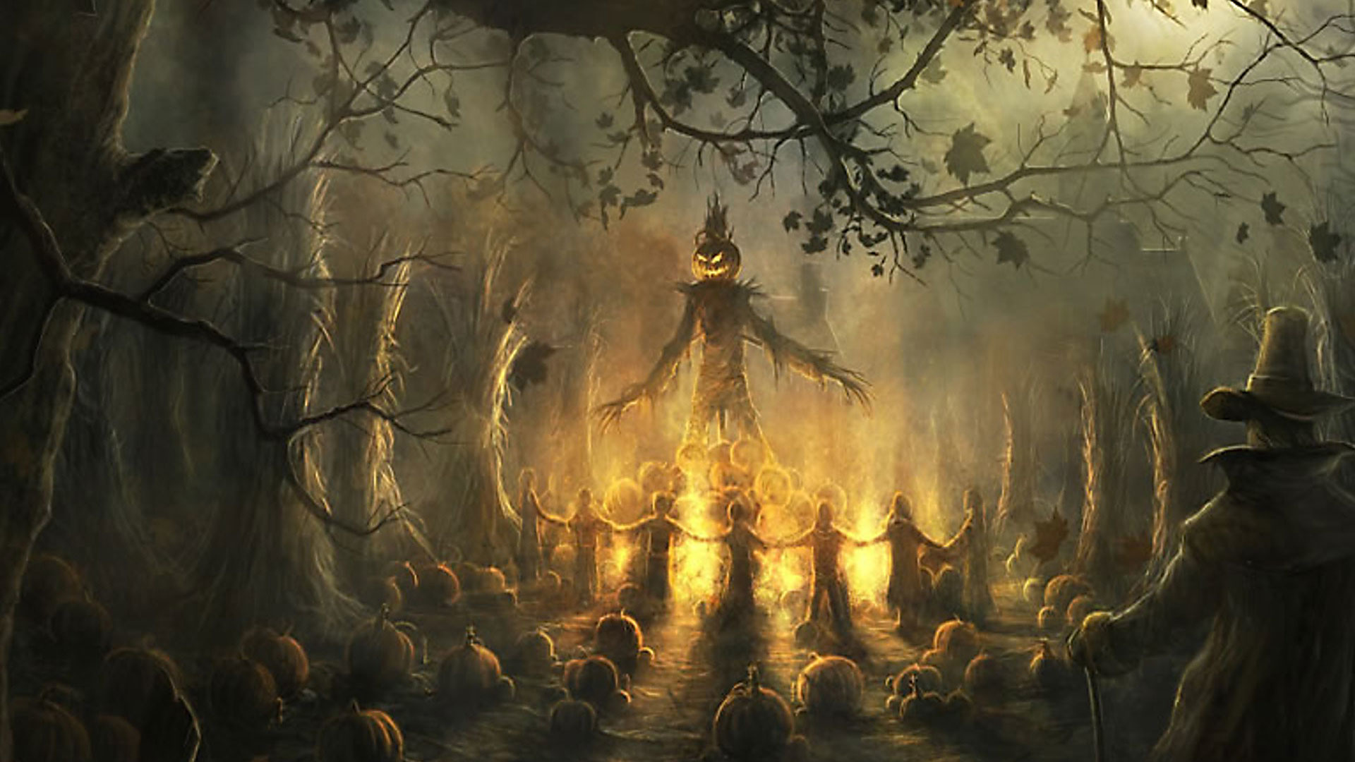 Halloween Pumpkin Scary Wallpaper Data Src Download Spooky Dark Halloween Background 1920x1080 Download Hd Wallpaper Wallpapertip