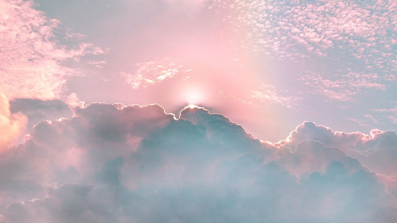 Wallpaper Clouds Porous Rainbow Sky Shine Rays Pastel Clouds Wallpaper Laptop 1366x768 Download Hd Wallpaper Wallpapertip