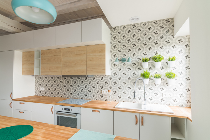 Kitchen Wallpaper With A Flower Printed On It With Modern White And Oak Kitchen Cabinets 800x533 Download Hd Wallpaper Wallpapertip
