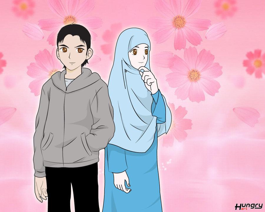 Wallpaper Muslimah Berpasangan Kartun Muslimah Dan Muslim 900x720 Download Hd Wallpaper Wallpapertip