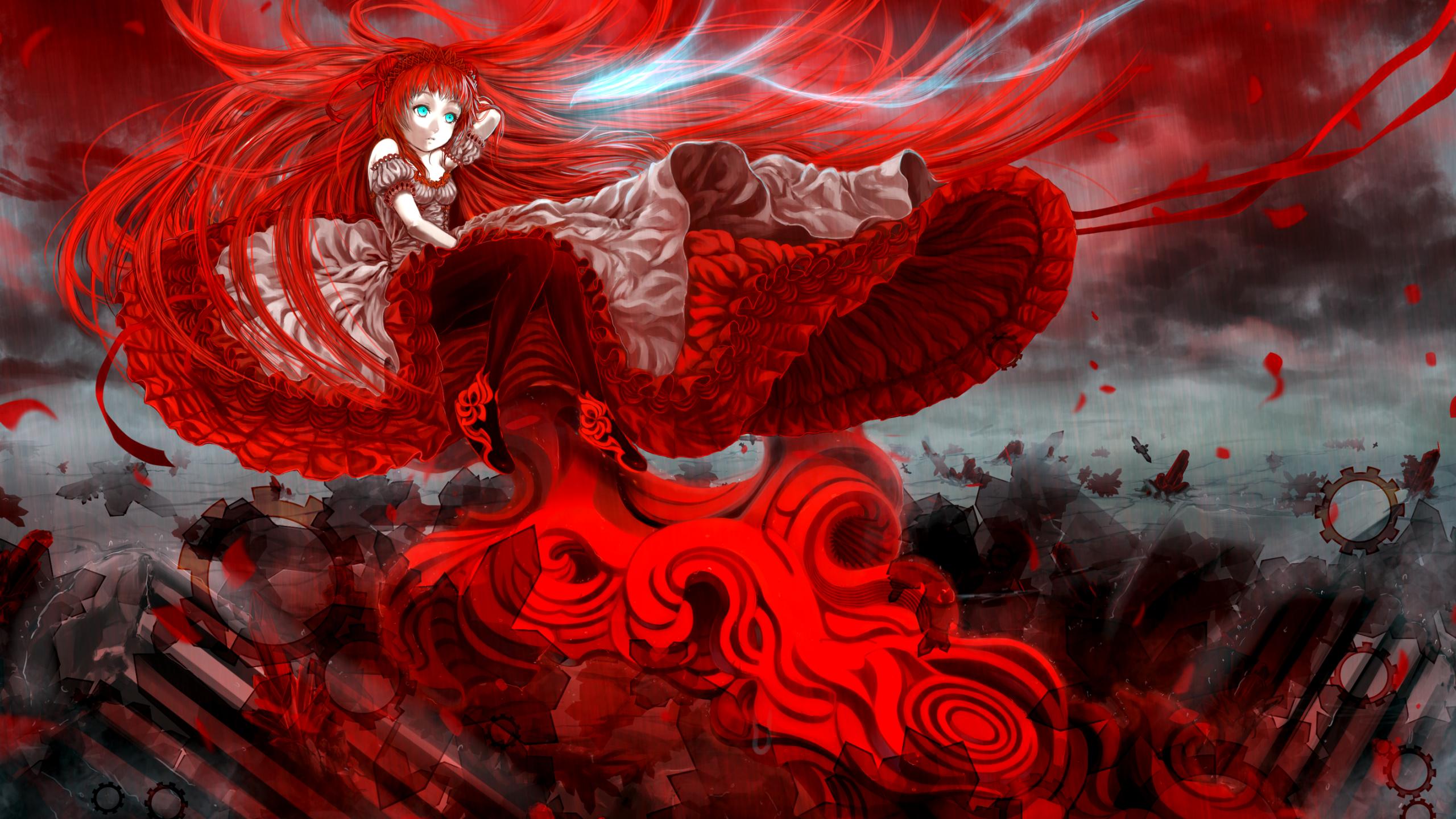 赤いテーマのアニメの女の子 アニメのテーマの壁紙 2560x1440 Wallpapertip