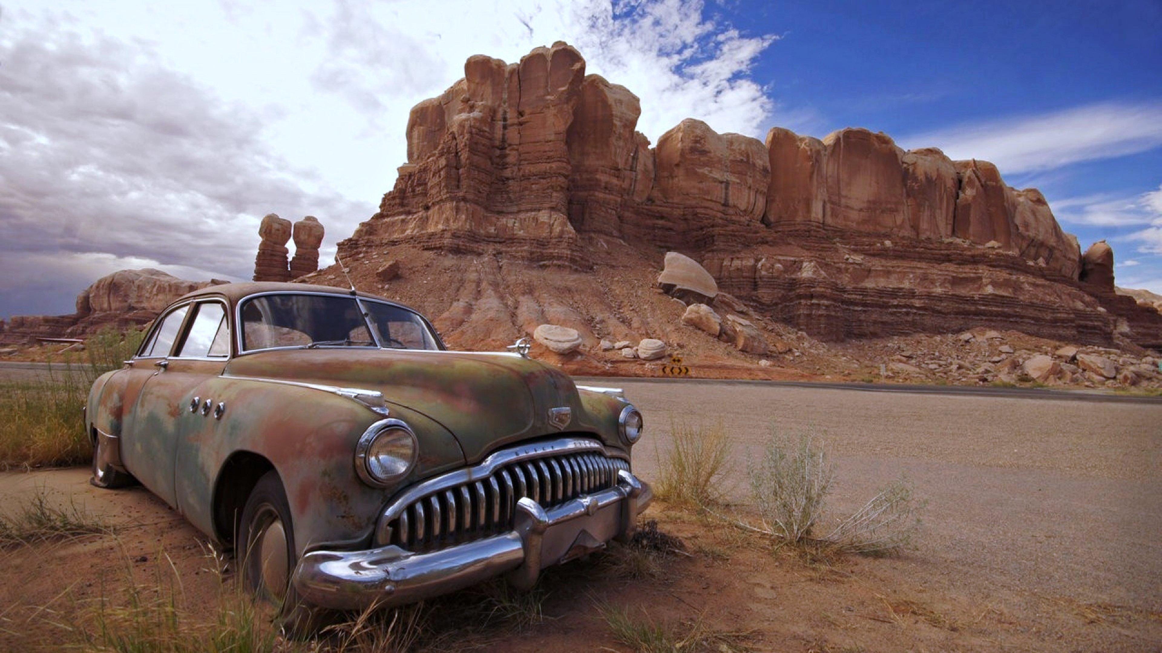 Desert Old Cars Landscape Nature Rocks Mountains Wallpaper Old Abandoned Cars 3840x2160 Download Hd Wallpaper Wallpapertip
