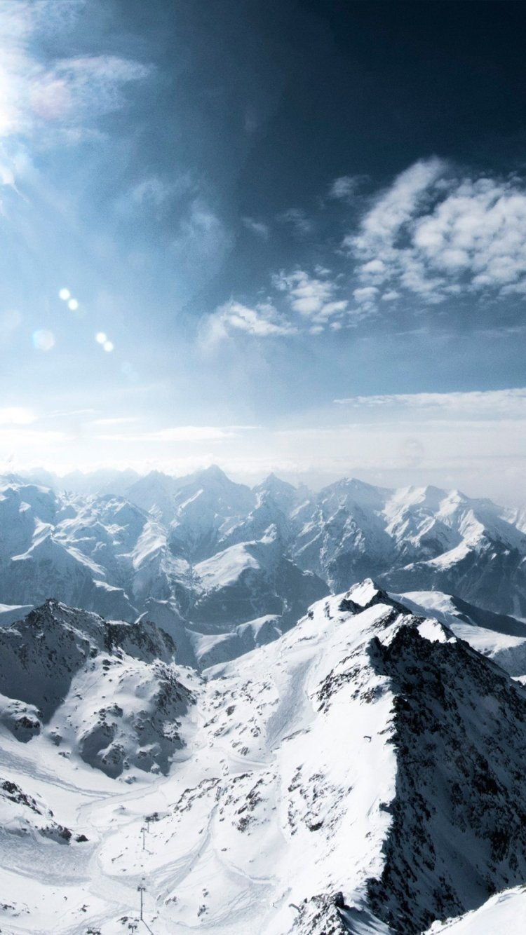 Sun Light Snow Mountains In France Hd ...